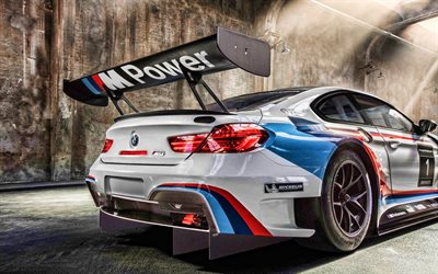 BMW M6 GT3, racing cars, F13, tuning, supercars, back view, BMW M6, german cars, BMW