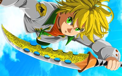 Meliodas, sword, manga, The Seven Deadly Sins, warrior, Nanatsu no Taizai