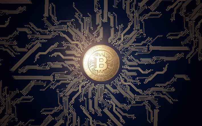 Download wallpapers bitcoin, crypto currency sign, blue technological background, finance ...