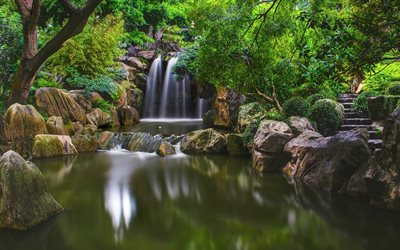 waterfall, lake, forest, jungle, Thailand, beautiful park