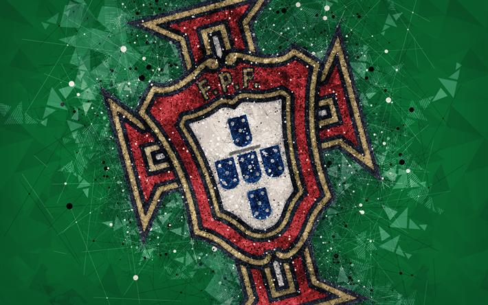 Télécharger fonds d'écran Portugal équipe nationale de football, 4k, art géométrique, logo, vert ...