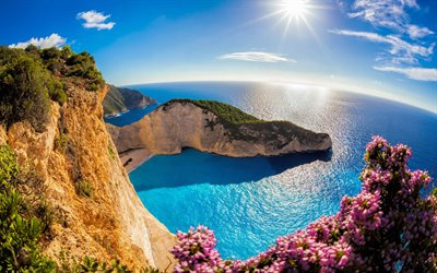 Zakynthos, summer, bay, paradise, sea, cliffs, Greece, Zakynthos Island, Europe