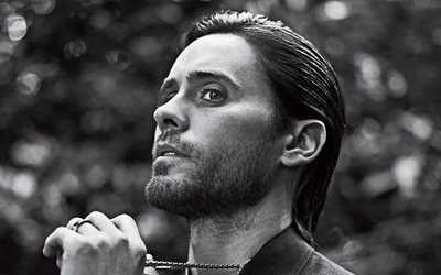 Jared Leto, american singer, rock singer, portrait, photoshoot, monochrome, american star