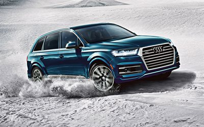 Audi Q7, 2019, exterior, luxury SUV, new blue Q7, riding in the snow, German cars, Audi