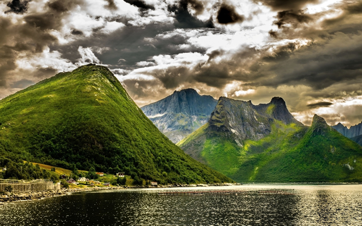 Norway, summer, beautiful nature, mountains, fjord, HDR, Europe, Norwegian nature