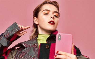 Kiernan Shipka, portrait, american actress, photoshoot, american star, woman with smartphone