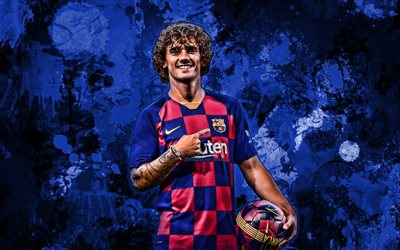 Antoine Griezmann, french footballers, 2019, blue paint splashes, Barcelona FC, LaLiga, forward, Barca, Griezmann, football, Spain, FCB, football stars, grunge art, soccer, Griezmann Barcelona, La Liga