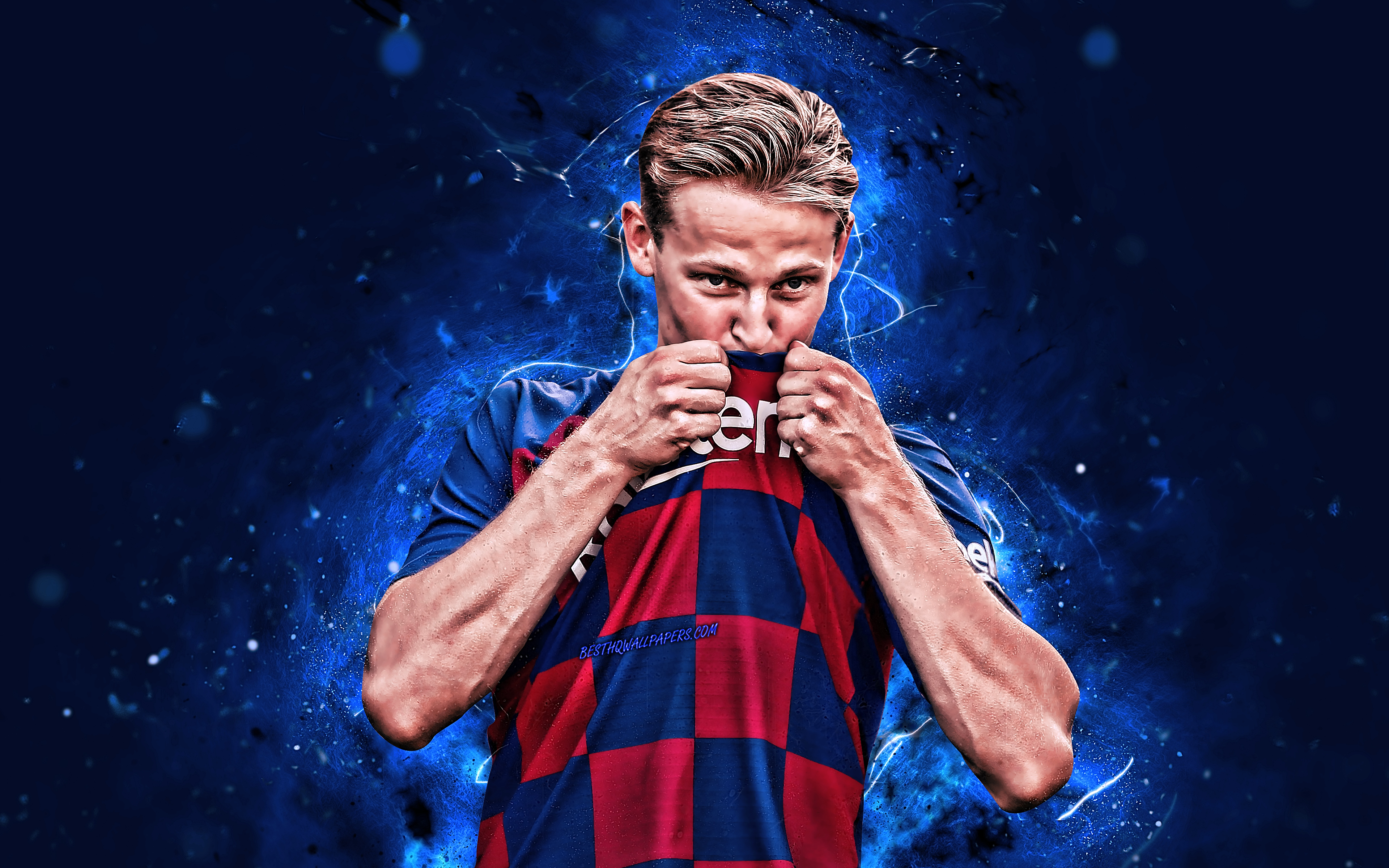 4k, Frenkie de Jong, Barcelona FC, 2019, dutch footballers, LaLiga, Midfielder, Barca, De Jong, La Liga, Spain, FCB, football, neon lights, soccer, Frenkie de Jong 4K