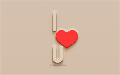 I Love You, 3d plaster letters, 3d art, love concepts, stone background, Red heart, I Love U