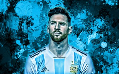 Lionel Messi, blue paint splashes, Argentina national football team, football stars, grunge art, Leo Messi, soccer, Messi, Argentine National Team, creative