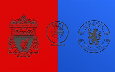 Liverpool vs Chelsea, 2019 UEFA Super Cup, promo materials, football match, final, UEFA, team logos, UEFA logo, Liverpool FC, Chelsea FC