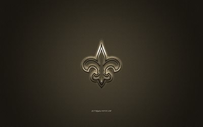 New Orleans Saints, American football club, NFL, brown logo, brown carbon fiber background, american football, New Orleans, Louisiana, USA, National Football League, New Orleans Saints logo