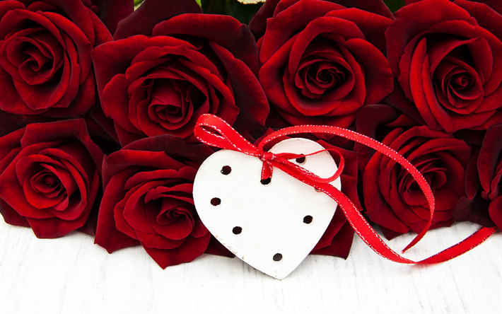 red roses, rose bouquet, white heart, romance concepts, February 14, I love you
