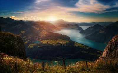 Switzerland, Alps, fjords, mountains, beautiful nature, Europe, swiss nature