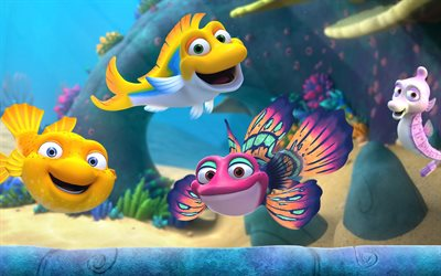 Splash and Bubbles, colorful fish, 2019 movie, TV Series, 3D-animation