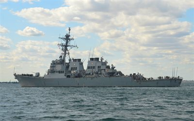 USS Carney, DDG-64, american warship, US Navy, american destroyer, Arleigh Burke-class destroyer, United States Navy, USA