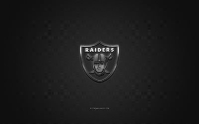 Oakland Raiders, club di football Americano, NFL, logo argento, grigio contesto in fibra di carbonio, football americano, Oakland, California, USA, la National Football League, Oakland Raiders logo