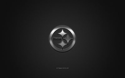 Pittsburgh Steelers, club di football Americano, NFL, logo argento, grigio contesto in fibra di carbonio, football americano, Pittsburgh, Pennsylvania, USA, la National Football League, Pittsburgh Steelers logo