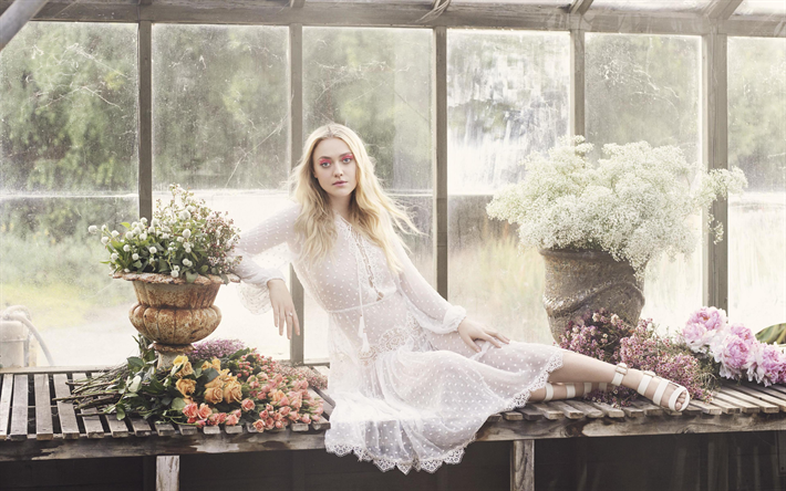 4k, Dakota Fanning, 2019, white dress, american celebrity, Hannah Dakota Fanning, american actress, beauty, Dakota Fanning photoshoot