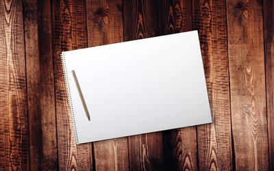 blank paper, 4k, macro, blank notebook with pencil, wooden board, wooden background, notebook