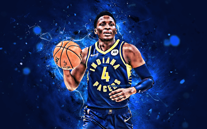 Victor Oladipo, 2019, basketball stars, Indiana Pacers, NBA, blue uniform, Kehinde Babatunde Oladipo, basketball, creative, neon lights