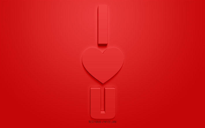 I Love U, 3d love concepts, red background, 3d letters, I Love You, red love background