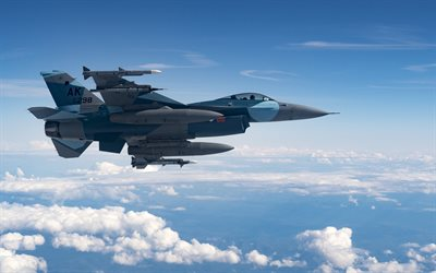 General Dynamics F-16 Fighting Falcon, F-16, American fighter, USAF, US military aircraft, USA, fighter in the sky