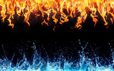 Water and Fire, 4k, black background, water fire frame, creative, water vs fire, artwork, water, fire flames