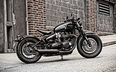 Triumph Bonneville Bobber, cruiser motorcycle, side view, black motorcycle, Bobber, British Motorcycles, Triumph