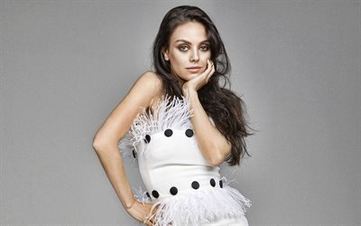 Mila Kunis, american actress, white dress, photoshoot, portrait, american star