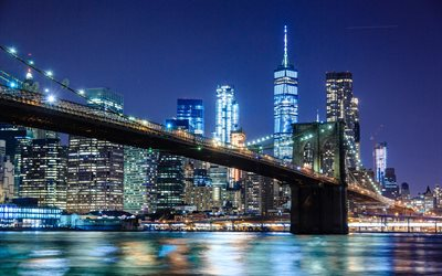 4k, Brooklyn Bridge, Empire State Building, nightscapes, New York, USA, american cities, Brooklyn Bridge at night, New York City, NYC, Cities of New York, America