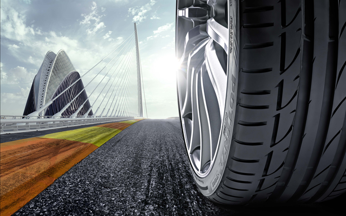 wheel on road, 4k, car tire, asphalt, road, car movement, car wheel