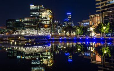Melbourne, evening, city lights, fountain, Australia, skyscrapers