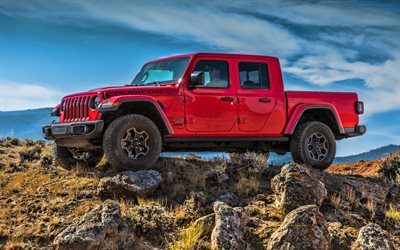 Jeep Gladiator Rubicon, HDR, offroad, 2019 cars, SUVs, red pickup, 2019 Jeep Gladiator, american cars, Jeep