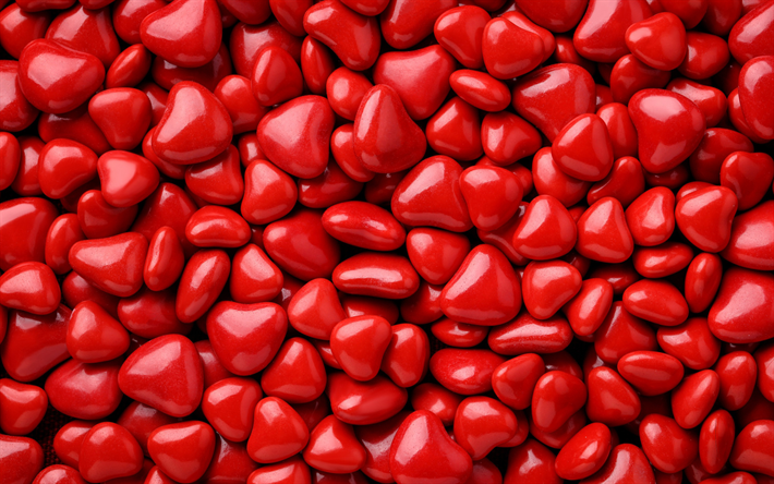 red hearts, macro, hearts candies, love concepts, hearts textures, red background