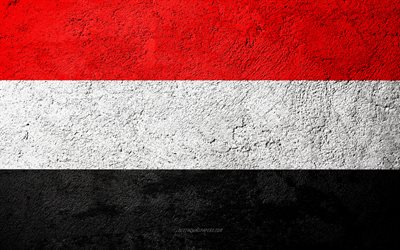Flag of Yemen, concrete texture, stone background, Yemen flag, Asia, Yemen, flags on stone