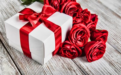 4k, white gift box, red roses bouquet, gift boxes, bouquet of roses, love concepts, pink flowers, roses, red flowers