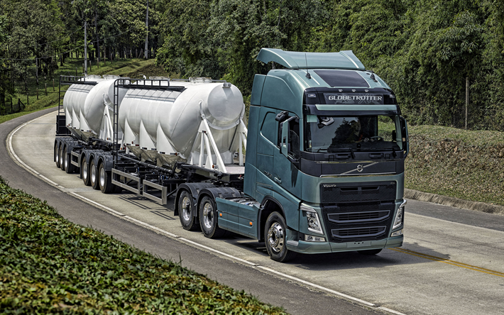 Volvo FH, new truck, gas transportation concepts, gas tank transportation, cargo delivery, new green FH, swedish trucks, Volvo