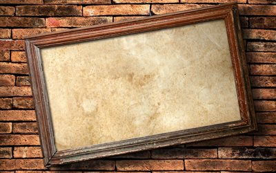 blank picture frame, 4k, brickwall, gallery, picture frame, wooden frames, blank frame, vintage frames