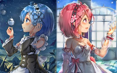 Ram and Rem, 4k, manga, Re Zero, artwork, Re Zero characters, Ram, Rem