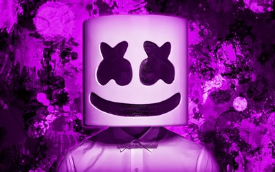 DJ Marshmello, purple paint splashes, superstars, Christopher Comstock, american DJ, grunge art, music stars, Marshmello, purple grunge background, DJs