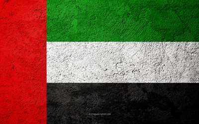 Flag of United Arab Emirates, concrete texture, stone background, UAE flag, Asia, United Arab Emirates, flags on stone