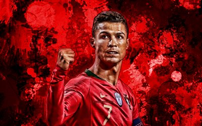 Cristiano Ronaldo, red paint splashes, Portugal national football team, football stars, grunge art, Cristiano Ronaldo dos Santos Aveiro, soccer, CR7, Portuguese National Team, creative