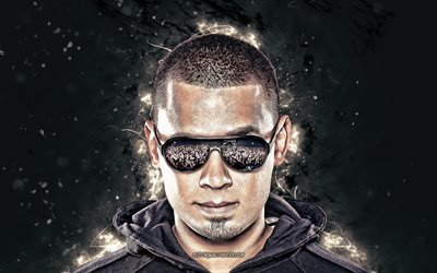 Afrojack, 4k, white neon lights, music stars, Dutch DJs, Nick van de Wall, superstars, fan art, Afrojack 4K
