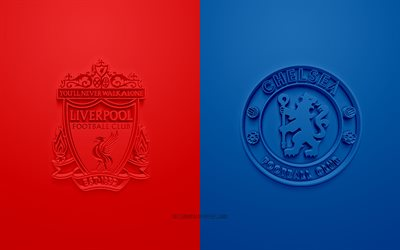 2019 UEFA Super Cup, Liverpool vs Chelsea, 3D art, promo, football match, 3D logos, Vodafone Park, Istanbul, Turkey, football, UEFA