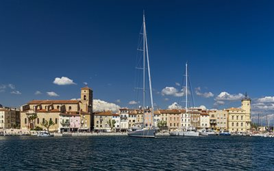 La Ciotat, French Riviera, bay, sailboats, beautiful French town, yachts, summer, coast, Mediterranean sea, La Ciotat cityscape, France