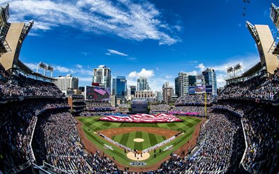 petco park, san diego, baseball-stadion, amerikanische flagge, baseball, major league baseball, usa-flagge, san diego padres-stadion, kalifornien, usa