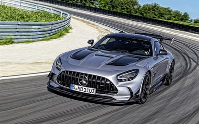 2021, Mercedes-AMG GT Black Series, 4k, front view, hypercar, racing car, silver sports coupe, german sports cars, Mercedes