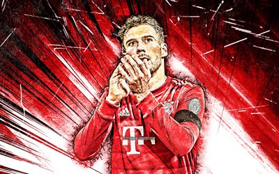 4k, Leon Goretzka, grunge art, Bayern Munich FC, german footballers, Bundesliga, Leon Christoph Goretzka, red abstract rays, soccer, Germany, Leon Goretzka Bayern Munich
