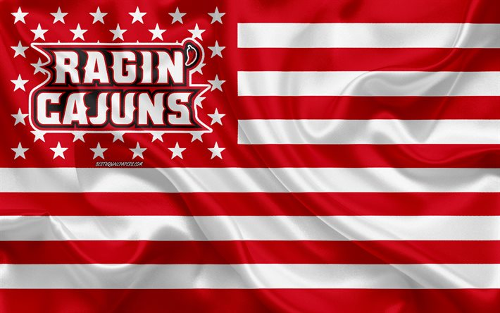 Download Wallpapers Louisiana Ragin Cajuns American Football Team Creative American Flag Red White Flag Ncaa Lafayette Louisiana Usa Louisiana Ragin Cajuns Logo Emblem Silk Flag American Football For Desktop Free Pictures For